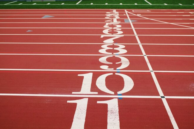 The start line of an athletic track with place numbers