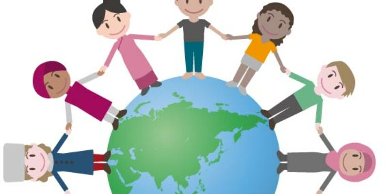 Cartoon of people holding hands round a globe