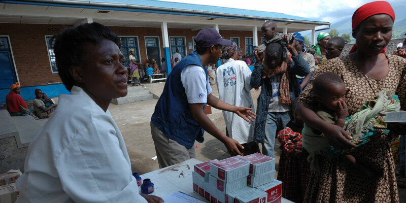 Families receiving emergency food packages in Goma