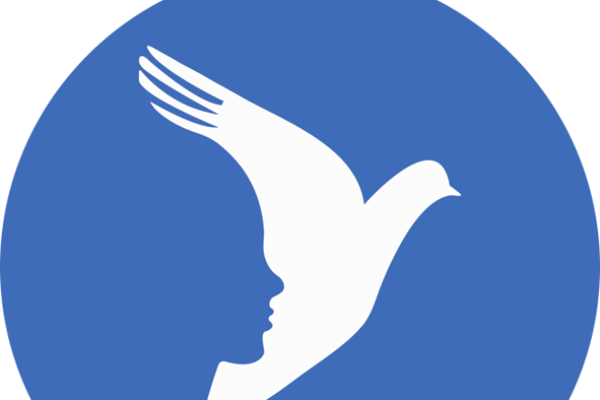 White dove with woman's face in blue