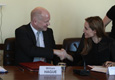 Rt Hon William Hague MP, Secretary of State for Foreign and Commonwealth Affairs, and Angelina Jolie, Special Envoy, United Nations High Commissioner for Refugees shaking hands in the Wilton Park Conference Room.