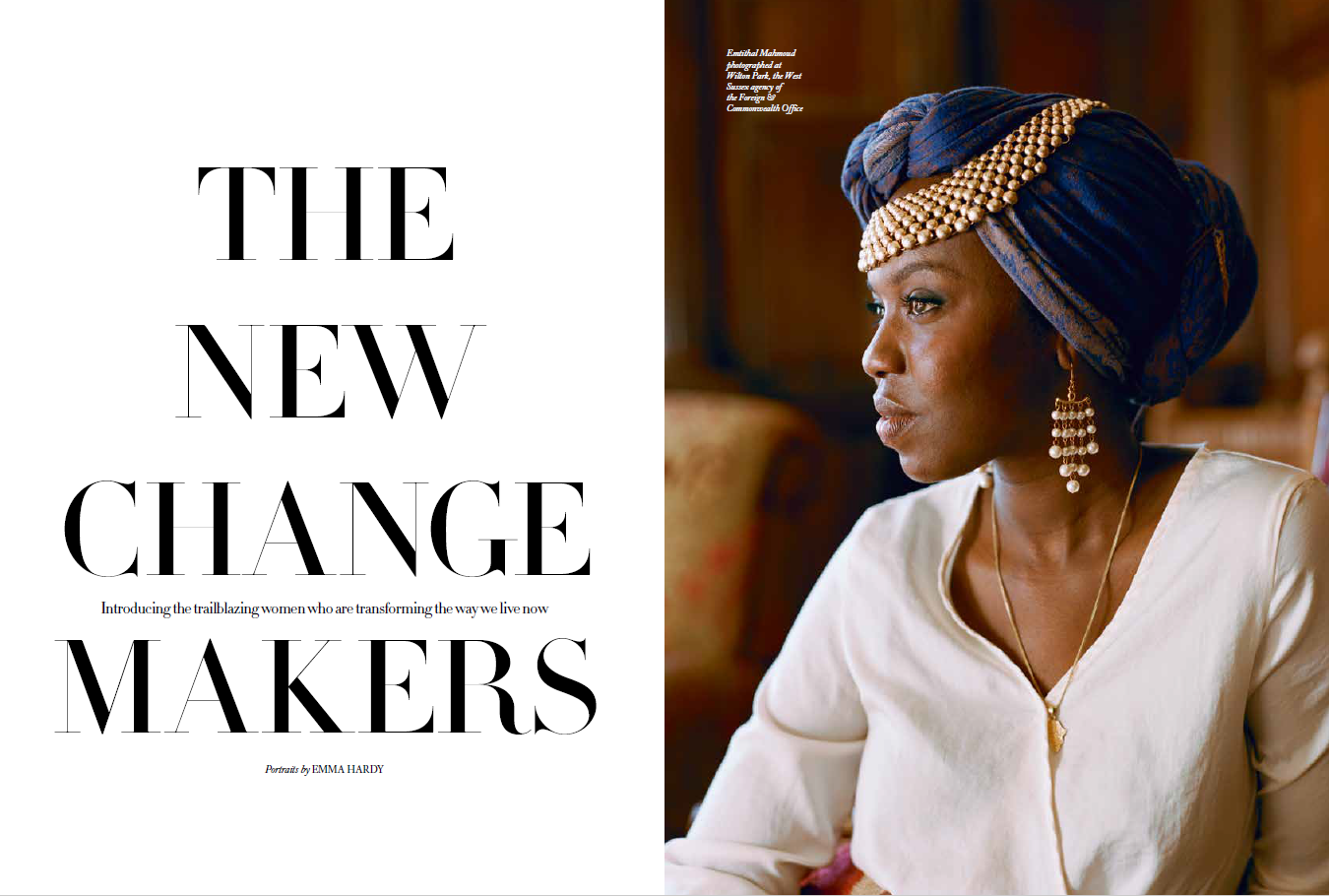 "The Harpers Bazaar magazine article pages showing ""The New Change Makers"" on the left and a portrait of Emi Mamoud on the right. © Emma Hardy"
