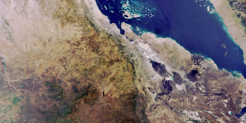Map of the Horn of Africa from space