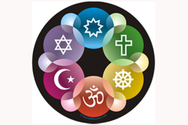 Interlinked symbols of faith in brightly coloured circles