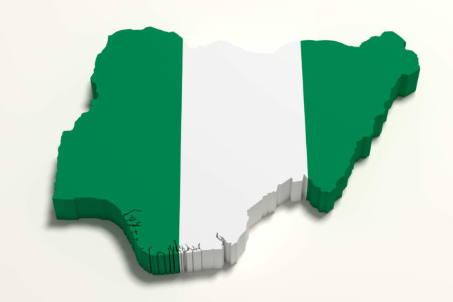 Map of Nigeria in green and white stripes