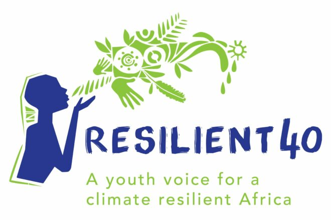"""Resilient 40 logo with the text """"a youth voice for a climate resilient Africa"""""""