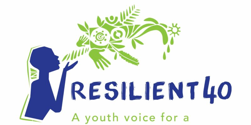 "Resilient 40 logo with the text ""a youth voice for a climate resilient Africa"""