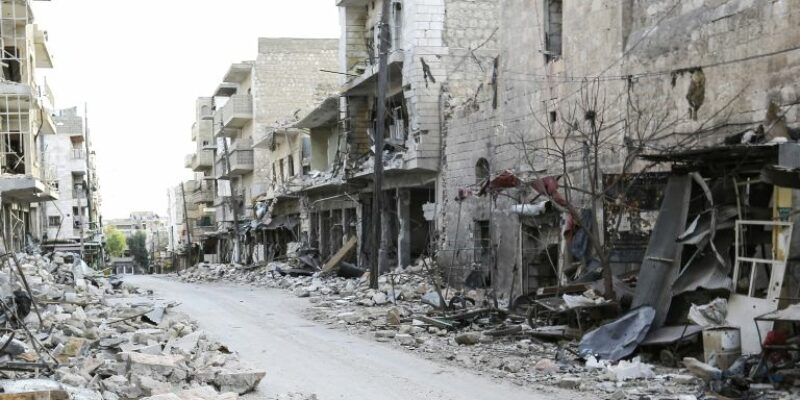 A Syrian street of destruction with bricks and rubble on the floor