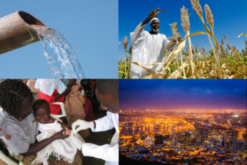 A gallery showing an African farmer, an African mother and her baby, water flowing and an African city at night.