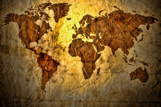 Map of the world on brown old paper
