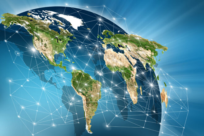 A world map on a technological background
