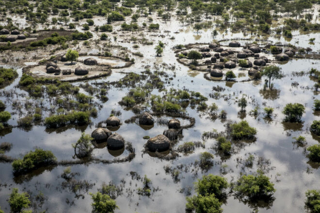 Flooded land in South Sudan