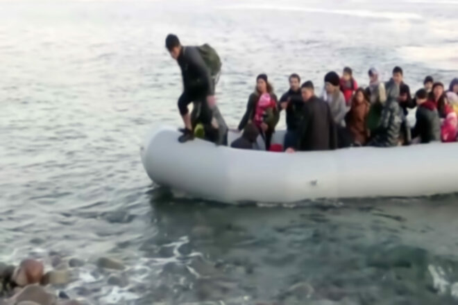 Refugees in an inflatable raft