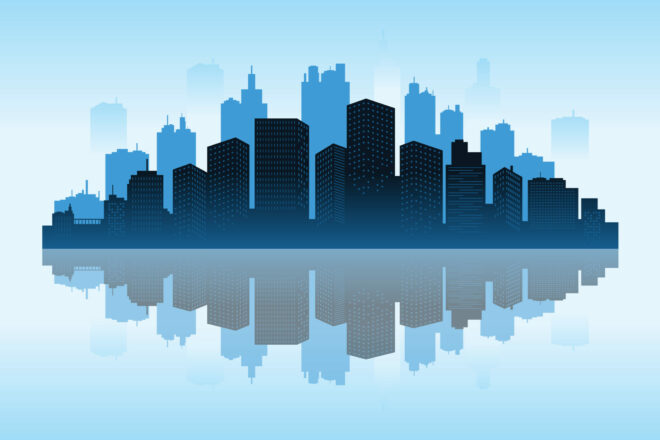 An artist's impressions of a city skyline with a reflection in a river