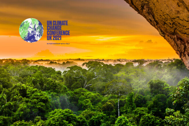 sunrise beyond a rainforest canopy, accompanied by the COP26 logo
