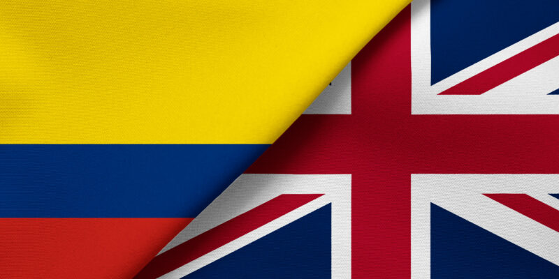 Flag of Colombia and Great Britain