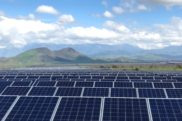 Solar panels with mountain view