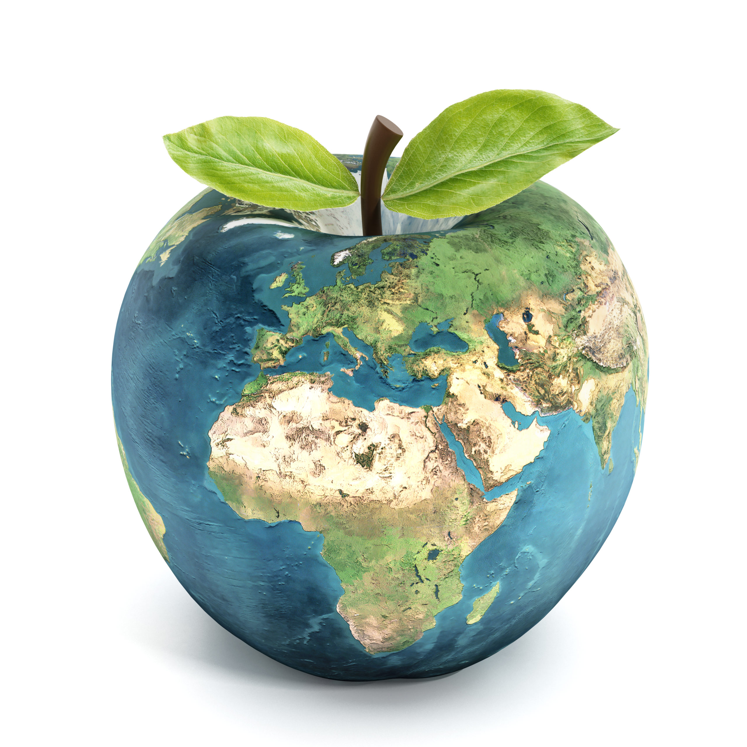 World shaped into an apple