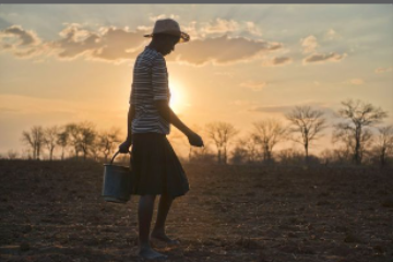 A young boy walking with a bucket over dry ground in the sunset