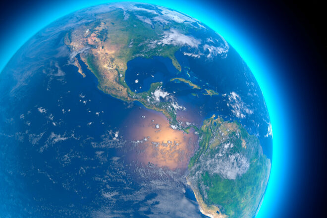 Physical Map Of The World Satellit View Of Central ,America.