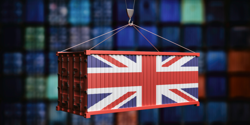 Shipping container with the Union Jack on it