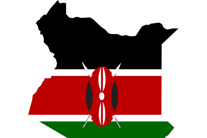 Kenya map and flag in white background