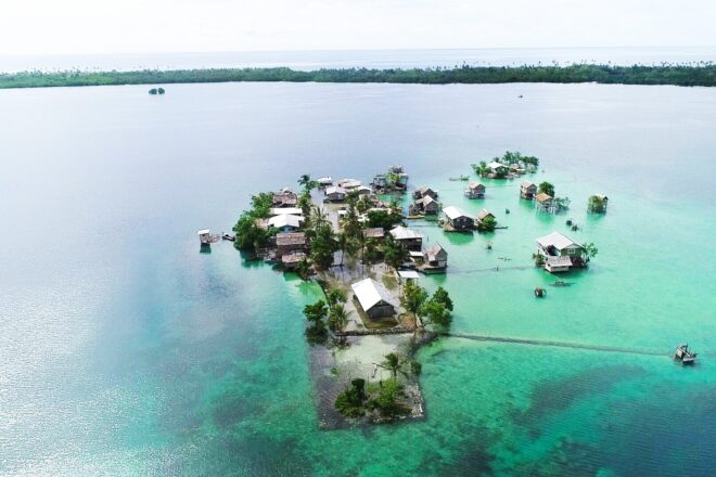 Submerged homes in the Pacific
