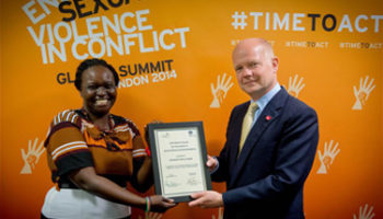 Elizabeth Angok, William Hague, Marsh Award, innovation, peacemaking, health, human rights, peace, peacebuilding, sexual violence, women,