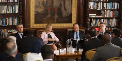 Filippo Grandi, United Nations High Commissioner for Refugees, Geneva; Rt Hon Justine Greening MP, Secretary of State, Department for International Development, London; Jim Yong Kim, President, World Bank Group, Washington DC and James Helm, Director of Communications, Department for International Development, London at the panel interview discussion on the opening day of our forum