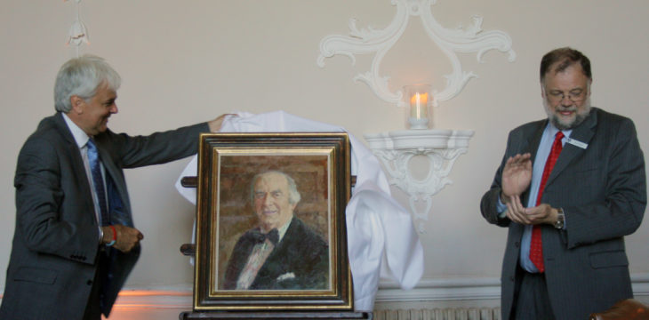 Unveiling the portrait of Wilton Park founder and warden, Sir Heinz Koeppler CBE