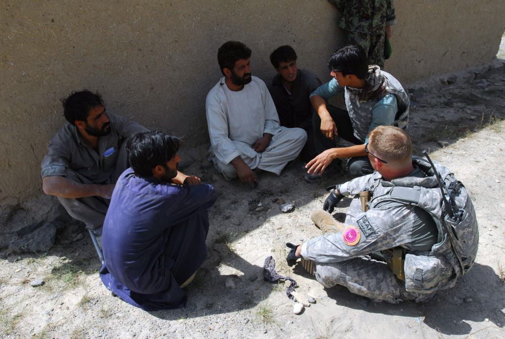 Image: Maj. Beau Spafford of Summerville, S.C., 1-178th Field Artillery Battalion, South Carolina Army National Guard, meets with elders from the Naw Abad village for a civil affairs assessment.  Maj. Spafford is the officer-in-charge of a Camp Phoenix based civil military operations team in Kabul.  He is currently serving a one year tour of duty in support of Operation Enduring Freedom.  (U.S. Army Photo by Capt. Chris G. Neeley)
