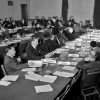 Meeting of Commission I, General Provisions, Committee 1 on Preamble, Purposes and Principles; Henri Rolin (Belgium), Chairman. 4 May 1945. Delegates of fifty nations met at San Francisco between April 25 and June 26, 1945. Working on the Dumbarton Oaks proposals, the Yalta Agreement, and amendments proposed by various Governments, the Conference agreed upon the Charter of the United Nations and the Statute of the New International Court of Justice. The Charter was passed unanimously and signed by all the representatives. It came into force on October 24, 1945, when China, France, the USSR, the United Kingdom, and the United States and a majority of the other signatories had filed their instruments of ratification. 4/May/1945. San Francisco, United States. UN Photo/Lundquist. www.unmultimedia.org/photo/