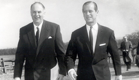 Heinz Koeppler and The Duke of Edinburgh at Wilton Park's 100th conference in 1968